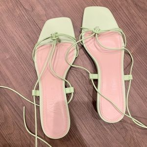 Zara lace up sandals green size 36
